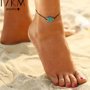 Turquoise Color Turtle Anklet Beach Feet Adjustabl
